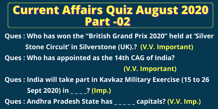 Some Questions from August 2020 Current Affairs
