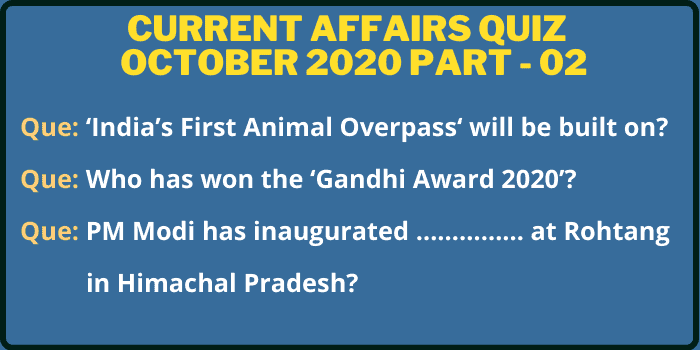 Image of October 2020 Current Affairs Questions