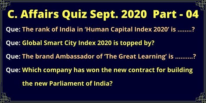 Some Questions of Current Affairs 2020 Quiz part 04