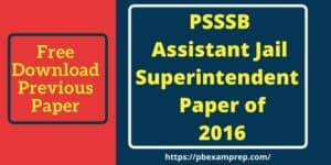 Feature Image of PSSSB Assistant Jail Superintendent Past Paper 2016